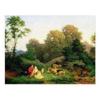 Shepherd and Shepherdess in a German landscape Postcard