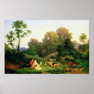 Shepherd and Shepherdess in a German landscape Poster