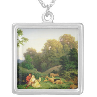 Shepherd and Shepherdess in a German landscape Silver Plated Necklace