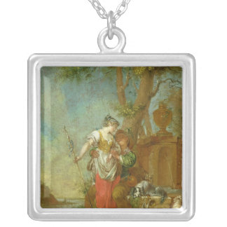 Shepherd and Shepherdess Silver Plated Necklace