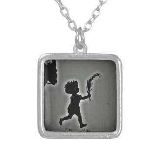 Shepherd Boy Carrying a Palm Frond Silver Plated Necklace