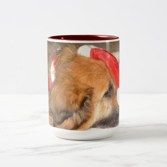 Shepherd dog, dog, merry, Christmas, Christmas Two-Tone Coffee Mug