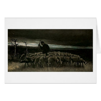 Shepherd, Flock of Sheep Van Gogh Fine Art Card