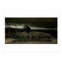 Shepherd, Flock of Sheep Van Gogh Fine Art Postcard