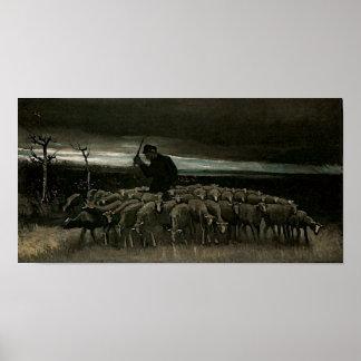 Shepherd, Flock of Sheep, Vincent van Gogh Poster