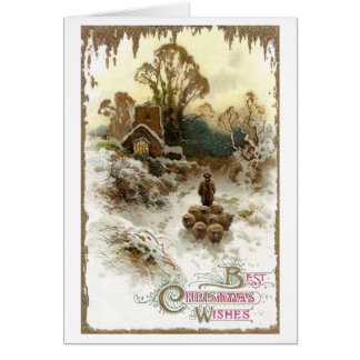 Shepherd Herding Sheep Vintage Christmas Card