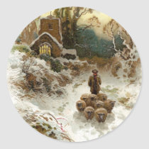 Shepherd Herding Sheep Vintage Christmas Classic Round Sticker