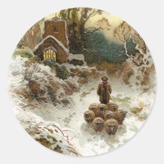 Shepherd Herding Sheep Vintage Christmas Classic Round Sticker