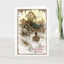 Shepherd Herding Sheep Vintage Christmas Holiday Card