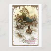 Shepherd Herding Sheep Vintage Christmas Holiday Postcard