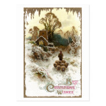 Shepherd Herding Sheep Vintage Christmas Postcard
