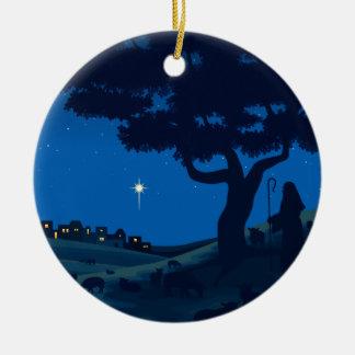 Shepherd on Christmas Eve Ceramic Ornament
