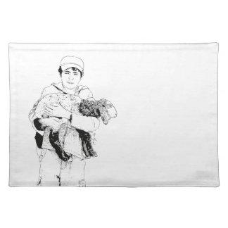 Shepherd Regarding His Sheep Cloth Placemat