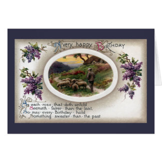 Shepherd, Sheep and Lilacs Vintage Birthday Card