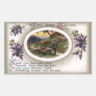 Shepherd, Sheep and Lilacs Vintage Birthday Rectangular Sticker