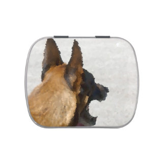 shepherd stained glass head image dog canine candy tin