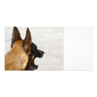 shepherd stained glass head image dog canine card