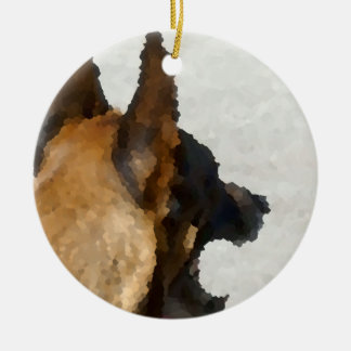 shepherd stained glass head image dog canine ceramic ornament