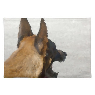 shepherd stained glass head image dog canine placemat