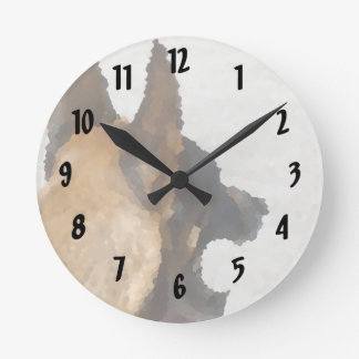 shepherd stained glass head image dog canine round clock