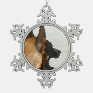shepherd stained glass head image dog canine snowflake pewter christmas ornament