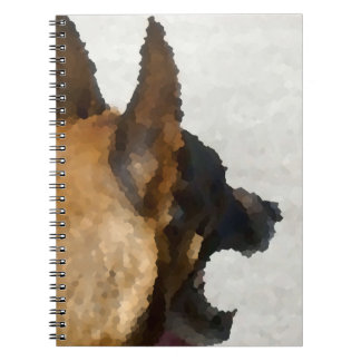 shepherd stained glass head image dog canine spiral notebook