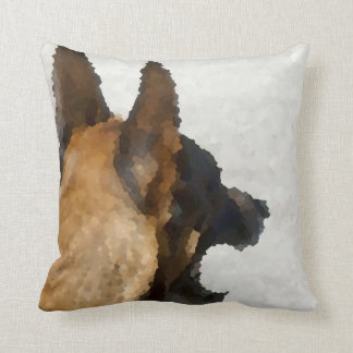 shepherd stained glass head image dog canine throw pillow