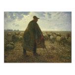 Shepherd Tending His Flock by Jean-François Millet Postcard