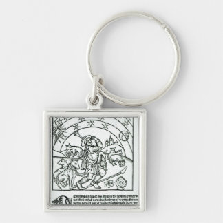 Shepherd under Sun, Moon and Stars Silver-Colored Square Keychain