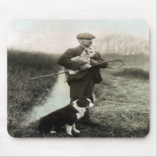 """""""Shepherd With Border Collie and Lamb""""~Mousepad Mouse Pad"""