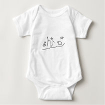 Shepherd with herd of sheep and dog shepherd baby bodysuit