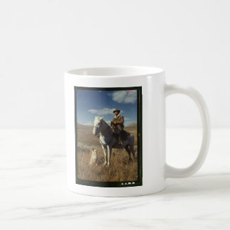 Shepherd with his horse and dog on Gravelly Range Coffee Mug
