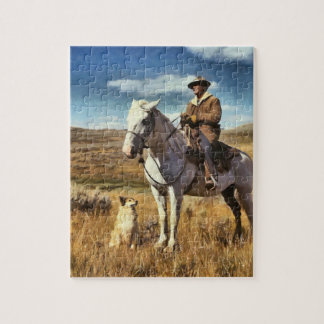 Shepherd with his horse and dog on Gravelly Range Jigsaw Puzzle