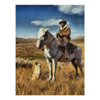 Shepherd with his horse and dog on Gravelly Range Print