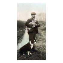 Shepherd With Lamb and Border Collie Card
