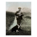 Shepherd With Lamb and Border Collie~Poster