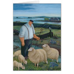 Shepherd with Sheep in River Landscape Card