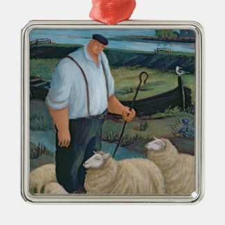 Shepherd with Sheep in River Landscape Metal Ornament