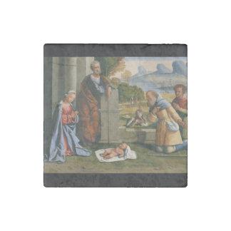 Shepherd Worshiping Baby Jesus Stone Magnet