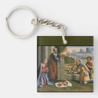 Shepherd Worshiping Baby Jesus Keychain