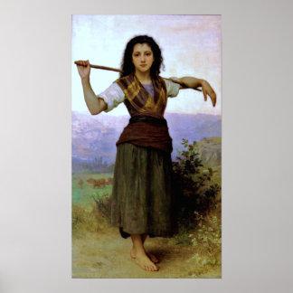 Shepherdess - Bouguereau (pastoral) ~ Poster