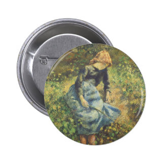Shepherdess by Pissarro, Vintage Impressionism Art Buttons