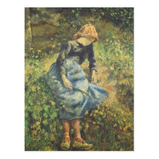 Shepherdess by Pissarro, Vintage Impressionism Art Postcard