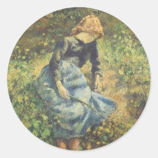 Shepherdess by Pissarro, Vintage Impressionism Art Classic Round Sticker