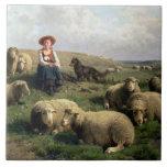 Shepherdess con las ovejas en un paisaje azulejo cuadrado grande