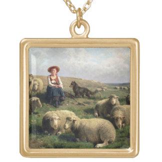 Shepherdess con las ovejas en un paisaje colgante cuadrado