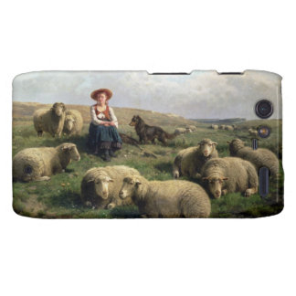 Shepherdess con las ovejas en un paisaje motorola droid RAZR carcasa