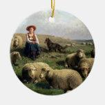 Shepherdess con las ovejas en un paisaje ornato