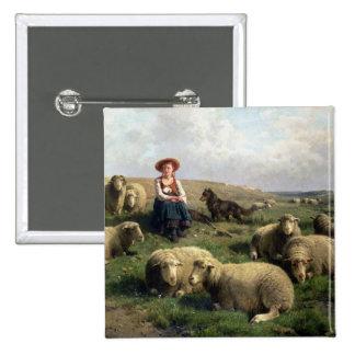 Shepherdess con las ovejas en un paisaje pin cuadrado