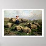 Shepherdess con las ovejas en un paisaje póster